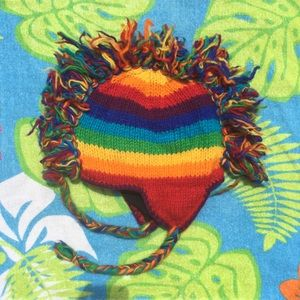 Rainbow Striped Mohawk Hat